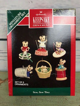 Hallmark - Sew, Sew Tiny - Set of 6 Miniature Ornaments - 1992 Keepsake Ornament - $19.79