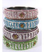 Lac Crystal Bracelet Bangle Silver-Tone Indian Fashion Swarovski Quality... - $17.75
