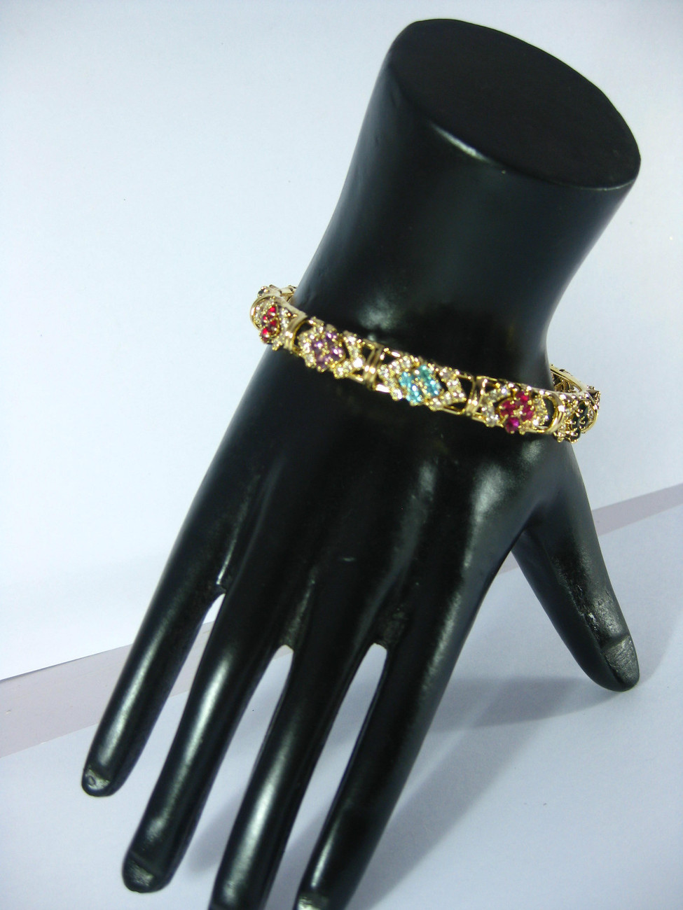 Multi-color Crystal Bracelet Bangle Swarovski Quality Gold Tone Large/2.10 India