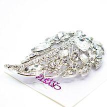 "Crystal Avenue Large Silver Tone Leaf 4"" Pin Brooch image 4"