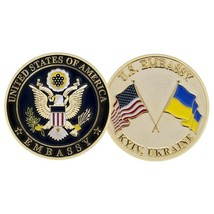 "UNITED STATES EMBASSY KYIV UKRAINE CROSSED FLAGS 2""  CHALLENGE COIN - $16.24"