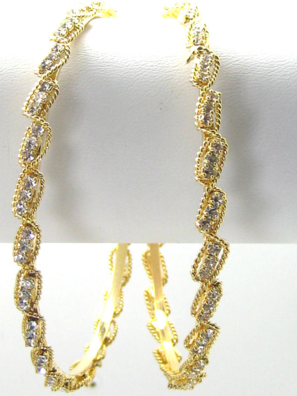 "Primary image for  New Designer Austrian Crystal Bracelet Pair 18k Gold-Plated 2.10""/ 6.7 cm INDIA"