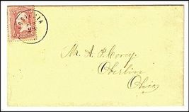 c1865 Fostoria OH Vintage Post Office Postal Cover - $9.95