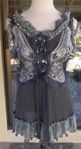 Pretty Angel Lacy Macrame Beaded Sleeveless Lined Gray Blouse Sz S, M, L - $43.99