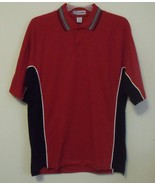 Mens NWT Red Black White Trim Short Sleeve Polo Shirt Size Large - $14.95