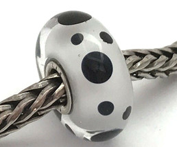 Authentic Trollbeads Murano Glass Black Spot Bead Charm 61400, New - $23.75