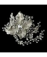 Elegant Antique Silver Clear Rhinestone Flower Prom Bridal Hair Clip - $85.45