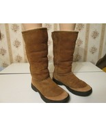 Ugg Boots Ultimate tall Braid 5340 Chestnut brown Leather Sheepskin line... - $80.00