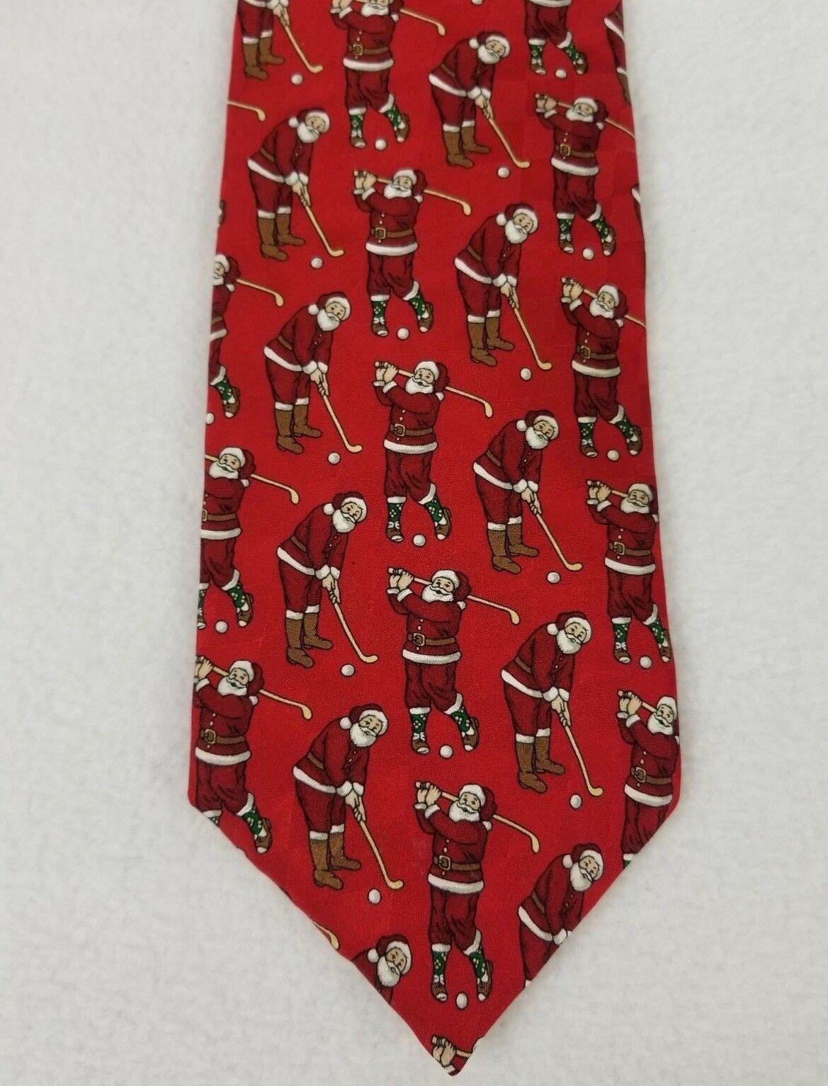 """Chritsmas Santa Golf Tie Silk Hallmark Holiday Traditions MMG Novelty Tie 56"""""""