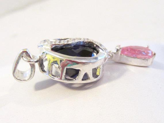 Gorgeous sterling silver 925 Amethyst,Pink Topaz & CZ pendant