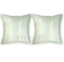 Set 2 Silk Throw Decorative Pillow Cases - CREAM - £10.46 GBP