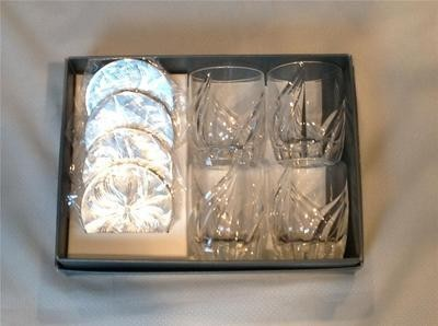 "LENOX ""DEBUT"" DOF SET OF FOUR WITH SILVER COASTER CRYSTAL MADE IN GERMANY NEW"