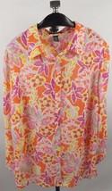 Chaps Blouse Top 2X Pink Orange Yellow Floral - $23.74