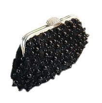 Fashion Black Beads Party Clutch Applique Flower Clutch for Women