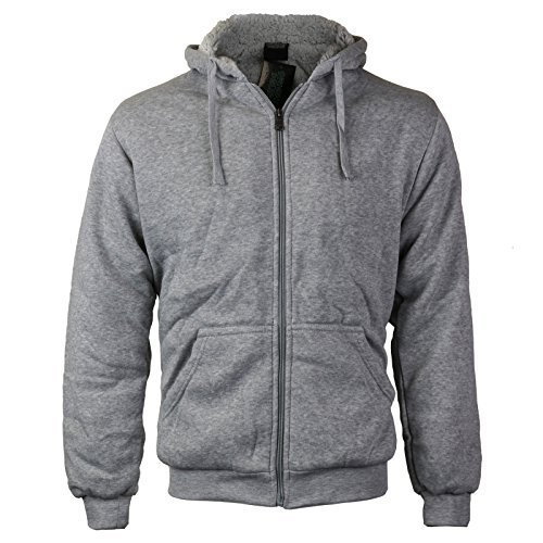 Men's Athletic Soft Sherpa Lined Fleece Zip Up Hoodie Sweater Jacket (Large, Lig