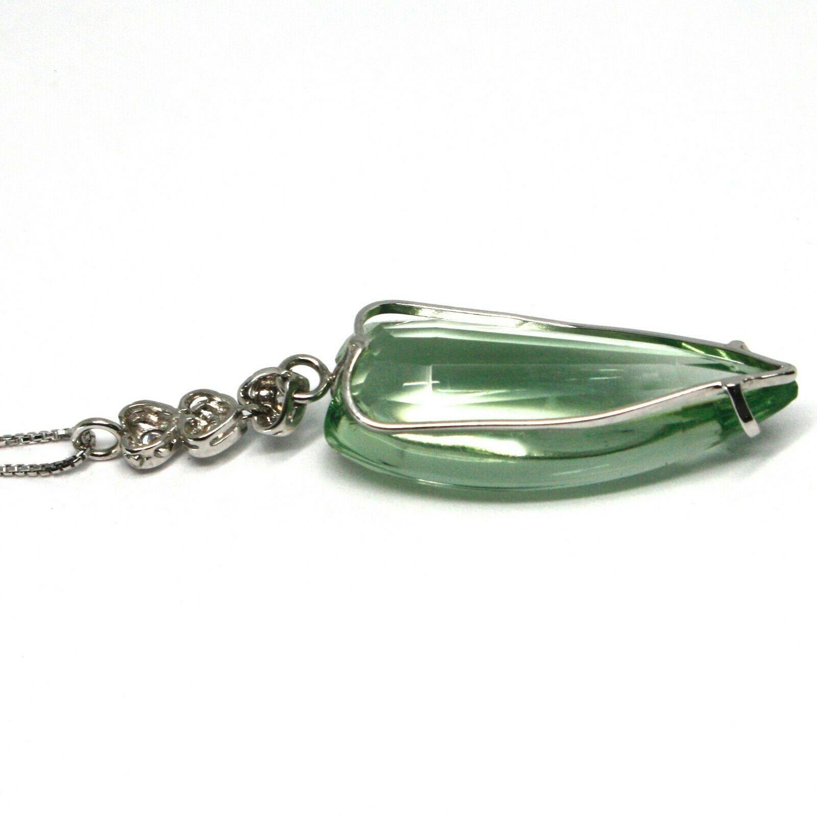 Collar Oro Blanco 750 18 CT,Corazón de Prasiolita Verde Diamantes Cadena