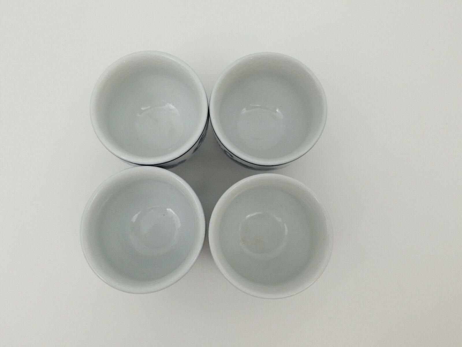 Pier 1 Imports Porcelain Tea Cups Sake Set of 4 White Blue Floral Dish Safe image 9