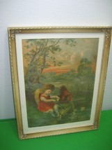 Vintage Picture Painting Print CHILD & HEN FEEDING BABY DUCKS Wood Frame  - $24.70