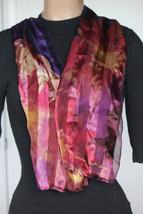 NEW Lauren Ralph Lauren 100% Silk Ombre Purple Flora Neck Wrap Scarf 12x52 - £14.21 GBP