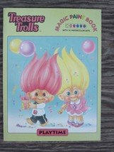 Lot of TREASURE TROLLS COLORING MAGIC PAINT BOOK and TABLE COVER Vintage... - $5.70
