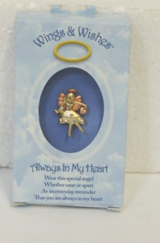 DM Merchandising Wings Wishes Heart Angel Pink Gold Clear Rhinestones