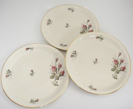 """Rosenthal 8.5"""" Salad Plates Lot of 3 Rosebuds Thorny Stems Gilded Edge Germany - $24.74"""