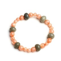 Handmade Beaded Stretch Bracelet Coral Pink Gray Handcrafted Jewelry Gift - $14.99