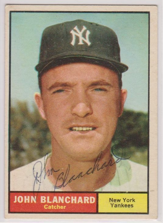 Primary image for Johnny Blanchard (d. 2009) Signed Autographed 1961 Topps Baseball Card - New Yor