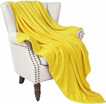 "Soft Fleece Blanket Flannel Yellow Velvet 50"" x 60"" Microfiber Plush Throw - $54.00"