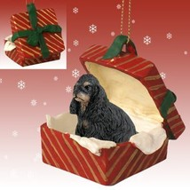 Conversation Concepts Cocker Spaniel Black & Tan Gift Box Red Ornament - $12.99