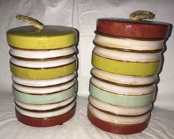 Home Accents Buoy-like Ceramic Canisters Hobby Lobby Striped (2) Decor NEW Boat