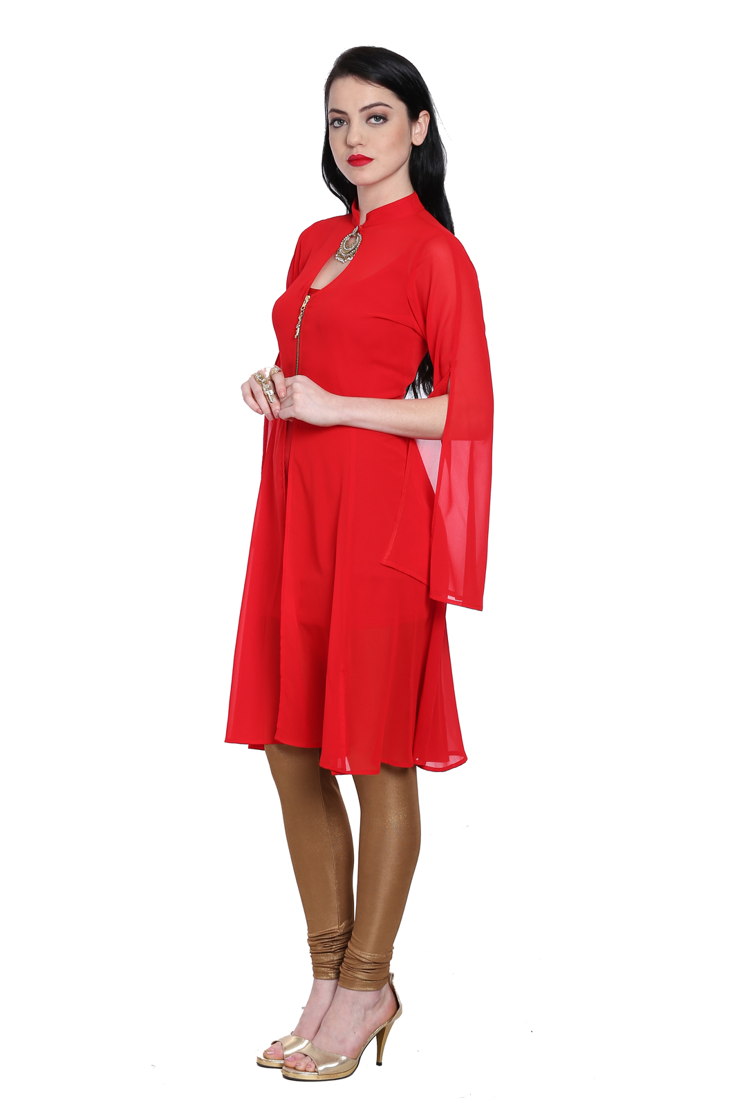 Ira Soleil red 2 pc set of chiffon kurti with slit on sleeves and viscose inner