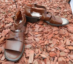Via Spiga Strappy Sandals Brown Chunky Heel Made in Italy Shoes  Size 9A - $46.50