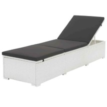 vidaXL Sunlounger Poly Rattan Wicker Reclining Black Patio Pool Day Bed ... - $144.99
