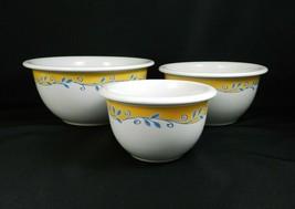 Corelle Casa Flora Mixing Bowls Coordinates Stoneware Nesting 1-2-3 Qt - $29.69