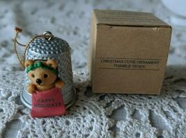 Avon Christmas Cutie Ornament Thimble Teddy - $9.69