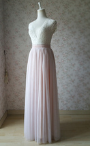 PALE PINK Floor Length Tulle Skirt Pale Pink Bridesmaid Skirts Wedding Outfits image 3