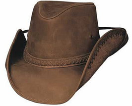 Bullhide Melbourne Leather Cowgirl Cowboy Hat Aussie Crown Chincord Black Bronze - £74.58 GBP