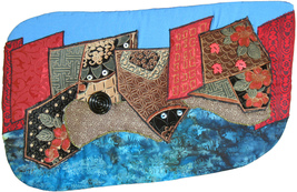 Cityscape on the River: Quilted Art Wall Hanging - $325.00