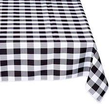 "LA Linen Rectangular Checkered Tablecloth 60"" x 108"", Black and White - $35.46"