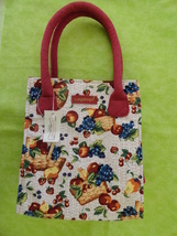 Longaberger Fruit and Baskets Small Tote Shopper Lunch Bag Homestead with tag - $12.00