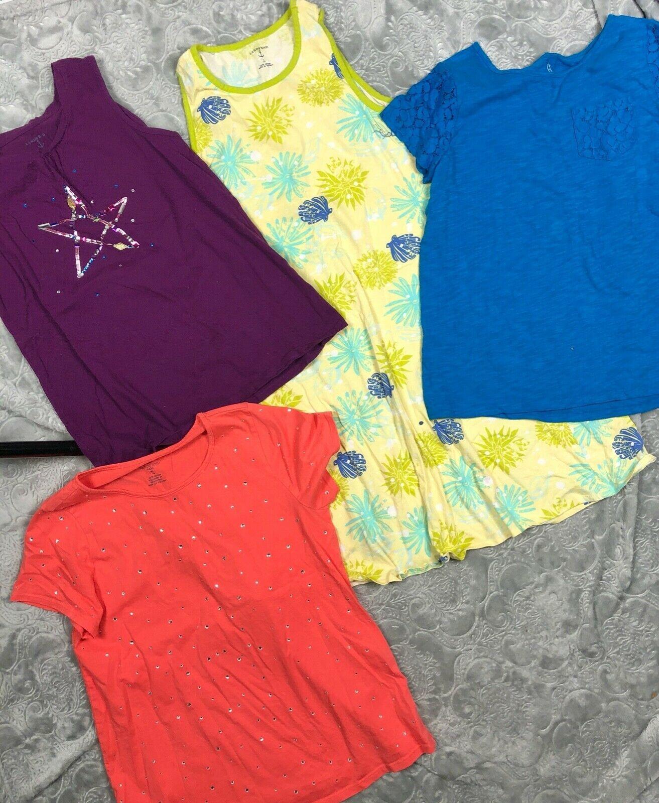 LANDS END KIDS Summer Tops Lot Sleeveless Tank Dress T-Shirt Girl's Size 14