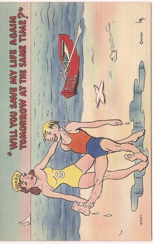 "MC Comic Post Card ""Will You Save My Life Again Tomorrow""! Unused & Uncirculated"