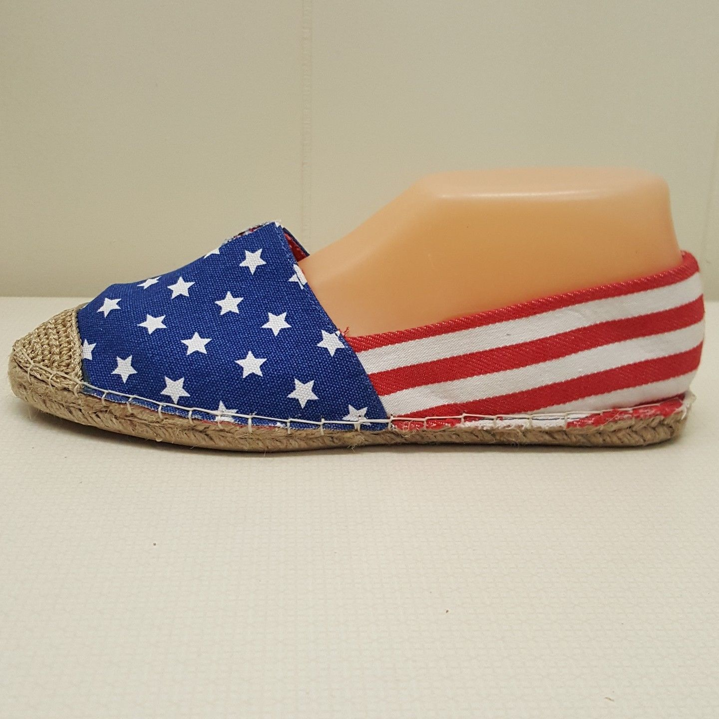 C Label Loafers Shoes Flats 8 Flag Stars Stripes Americana Canvas Costume