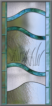 Stained Glass Leaded Window etched Sea Grass Bevel - $347.00