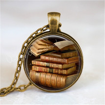 BOOK Necklace, Library Books Pendant, Read, Book Lover Jewelry, Book Ner... - $12.95