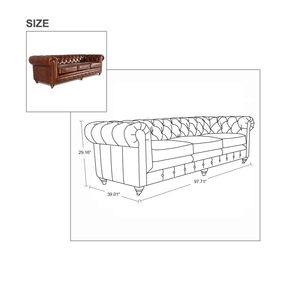 MarquessLife 100% Genuine Antique Leather Tufted Couch 3 Seater Sofa Handmade image 7