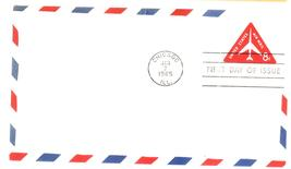 8 cents Air Mail Stamped Envelope First Day Cover Jan 7, 1965 Chicago, IL - $1.99
