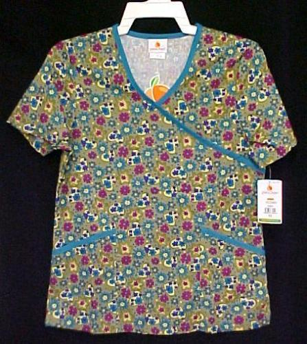 Primary image for Peaches Floral Heart XS Mock Wrap Blue Olive Print Scrubs Top V Neck New