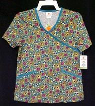 Peaches Floral Heart XS Mock Wrap Blue Olive Print Scrubs Top V Neck New - $14.67